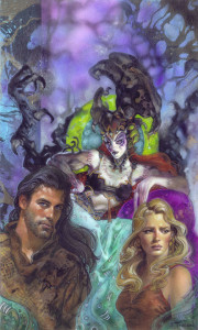 Take away the context, and you've got the cover to Embrace of Pain, a Yuuzhan Vong romance novel. Totally a love triangle going on there.
