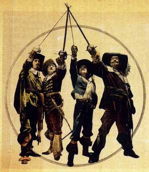 All for one and one for all -- the Three Musketeers and d'Artagnan