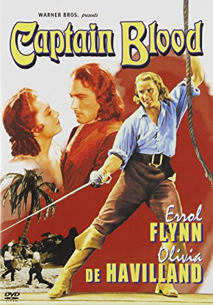 Errol Flynn, king of the swashbucklers, in art for Captain Blood