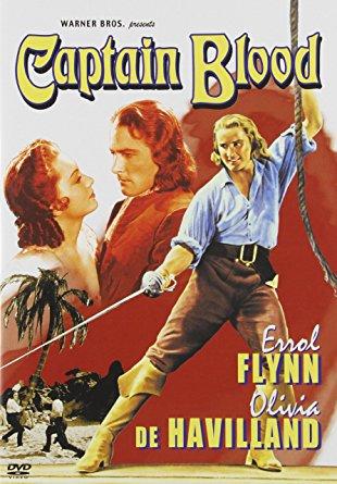 Errol Flynn, king of the swashbucklers, in art for Captain Blood