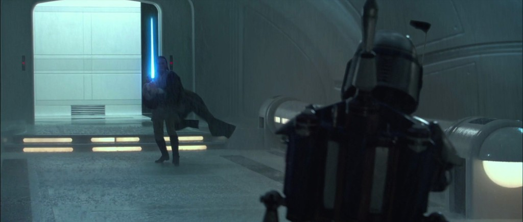 Obi-Wan attempts to arrest Jango Fett on Kamino