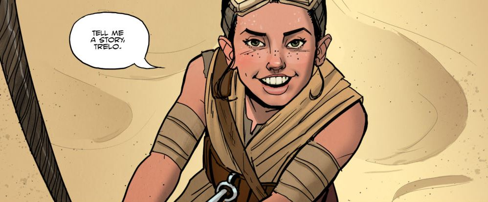 "A Star Wars Comic panel of young Rey saying ""Tell me a story, Trelo."""