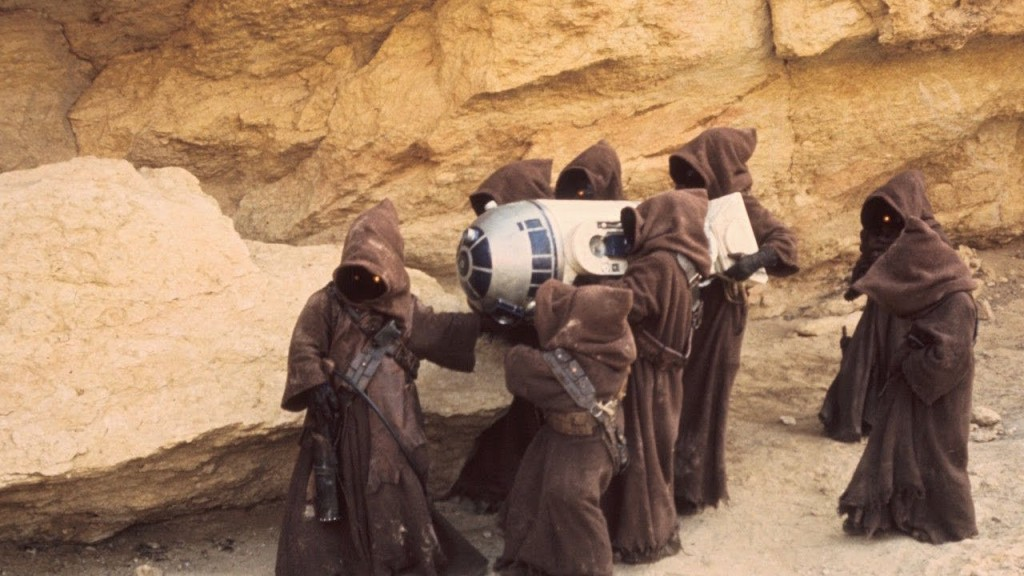 Jawas carrying a captured R2D2