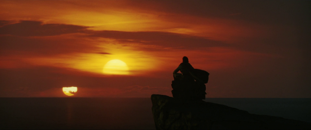 Luke looking out on the two suns before he dies on Ahch-To