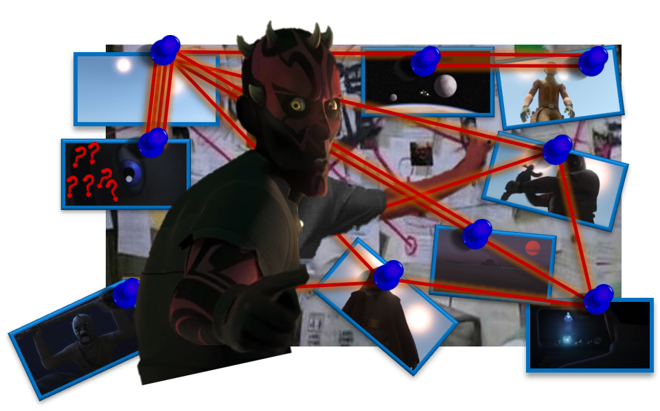 Photoshopped image of Maul at a conspiracy wall with various sun interpretations