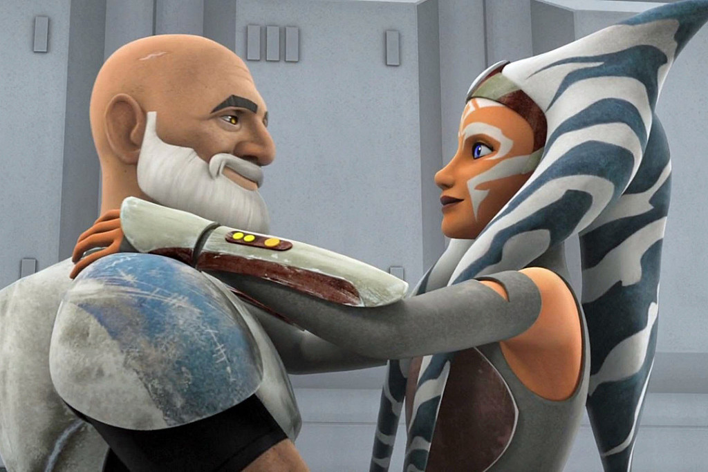 Ahsoka and Rex hug in Rebels